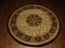 STUNNING 140X140CM CIRCLE RUG WOVEN&CARVED NEW ROYAL RANGE A+QUALITY IVORY/BLACK